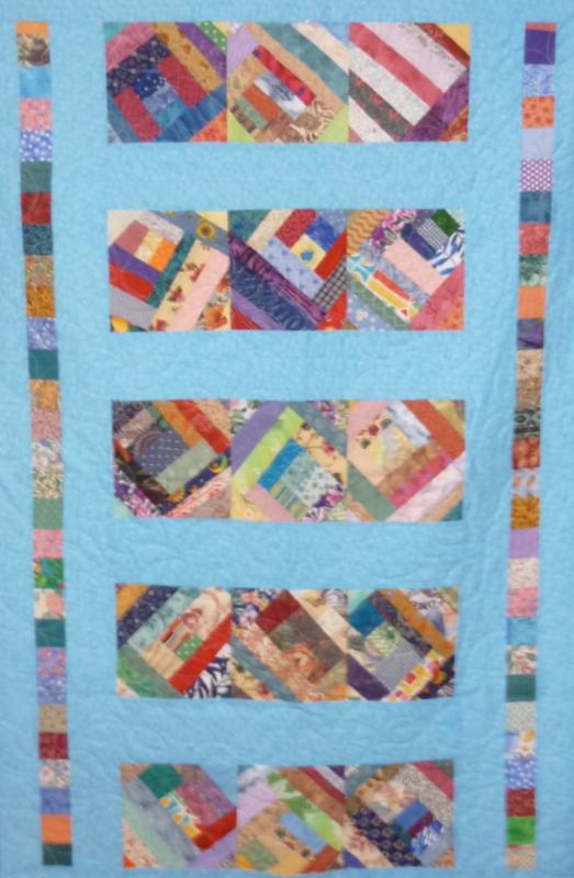 Aqua Crazy Bands SHP Quilt by Roberta Granville