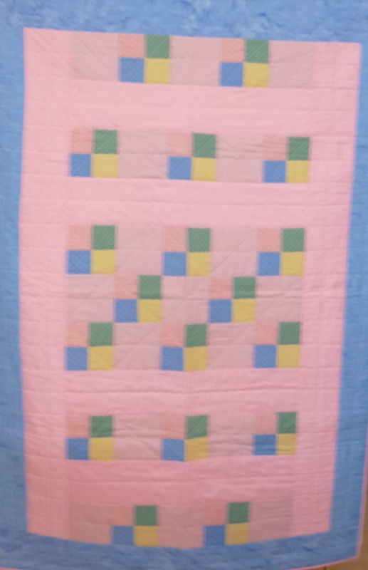 Pink 9-Sq. Bands SHP Quilt by Roberta Granville
